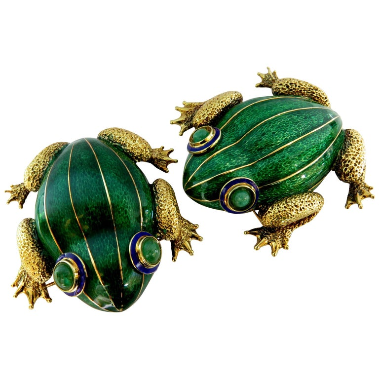 Huge Pair of Green and Blue Enamel Gold Frog Pins with Emerald Eyes For Sale