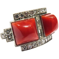 Diamond Coral Platinum Ring