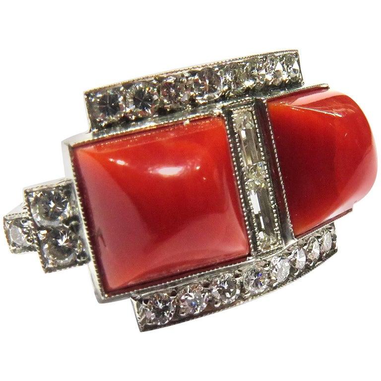 Superb Diamond Coral Platinum Ring 1