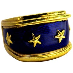 Exceptional Mavito Enamel Four Star Gold Band Ring