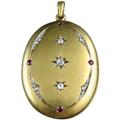 Antique Locket with a Mirror Set with Diamonds and Rubies, 19th Century