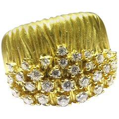 Romantic Sonia B. Wide Gold Diamond Band Ring