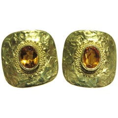 Ed Wiener Gold Topaz Etruscan Design Earrings