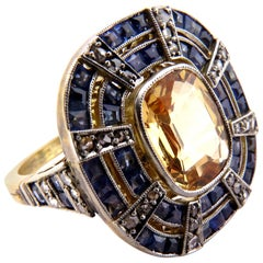 Fantastic Art Deco Blue and Yellow Sapphire Diamond Platinum and Gold Ring