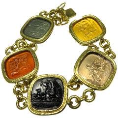 Classic Elizabeth Locke Venetian Glass Intaglio Large Gold Bracelet