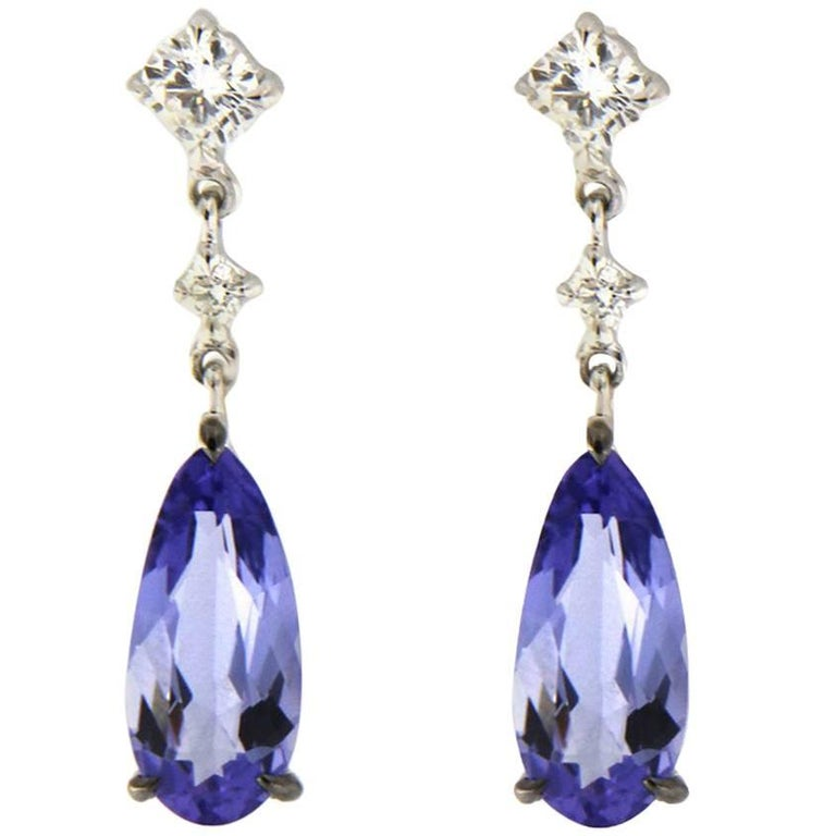 Jona Tanzanite Diamond 18k White Gold Drop Earrings