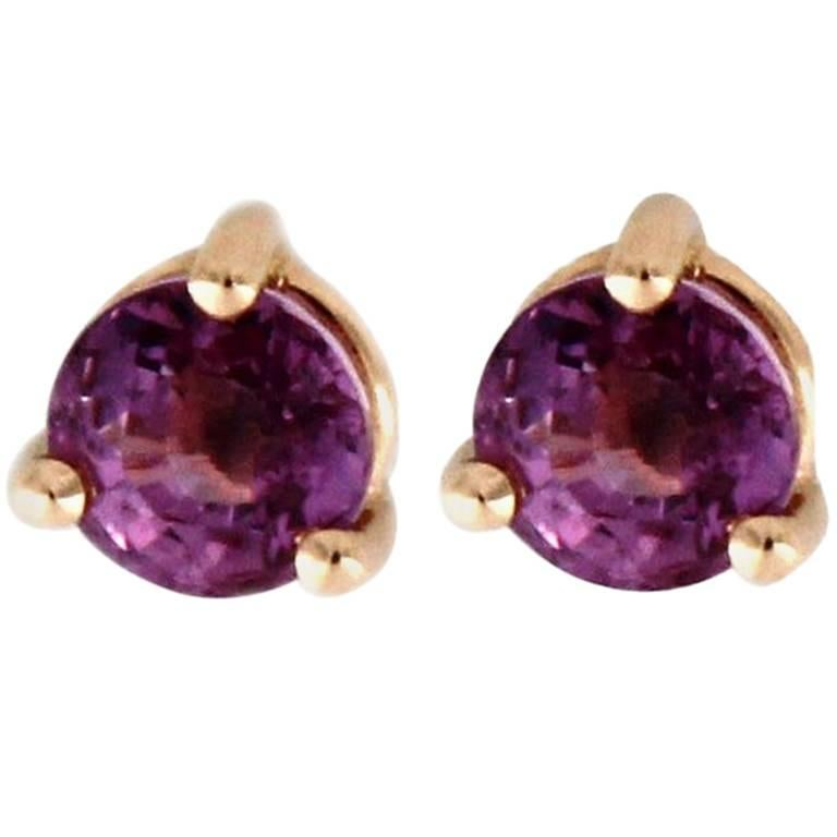 Jona Natural Purple Burmese Spinel 18 Karat Yellow Gold Stud Earrings For