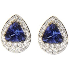 Jona Tanzanite White Diamond Stud Earrings