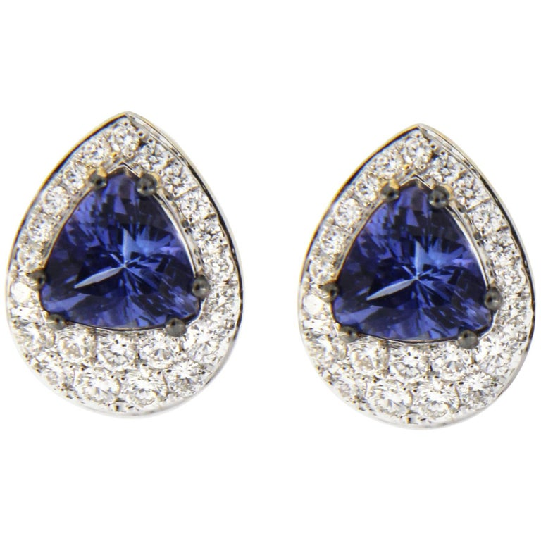 Jona Tanzanite 18k Gold White Diamond Stud Earrings