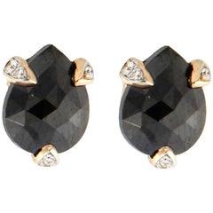 Jona Black Diamond Pink Gold Stud Earrings