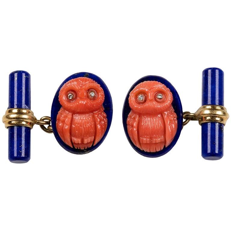 Lapis Lazuli Mediterranean Coral Owls Diamond Gold Cufflinks