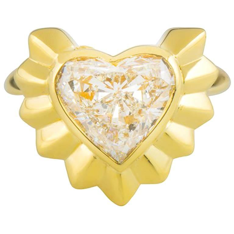 Garrard Yellow Gold Heart Diamond Ring 2.68 Carat