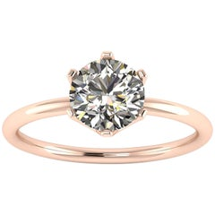 Ferrucci GIA Certified 1.01 Carat White Diamond in 18 Karat Gold Solitaire Ring