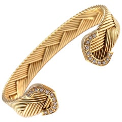 Cartier Vintage Double C Diamond Basket Weave Cuff Yellow Gold Bracelet