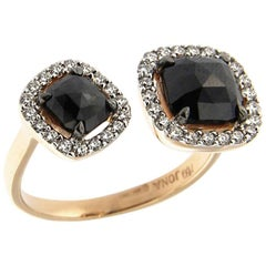 Jona Black Diamond White Diamond 18 Karat Gold Halo Ring