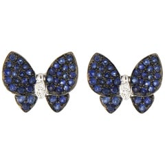 Jona Blue Sapphire Diamond White Gold Butterfly Earrings