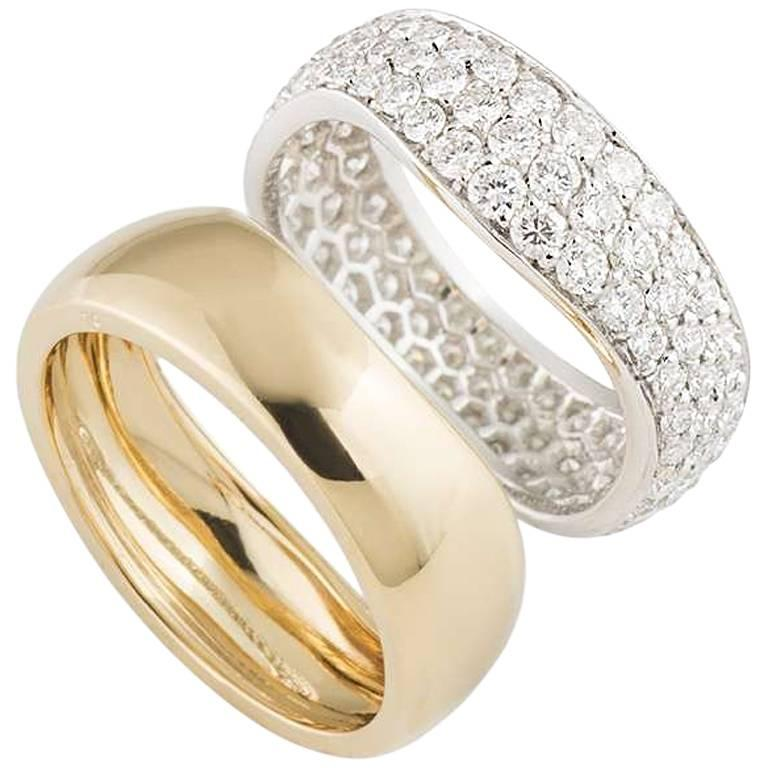 Cartier White and Yellow Gold Diamond Stacker Rings