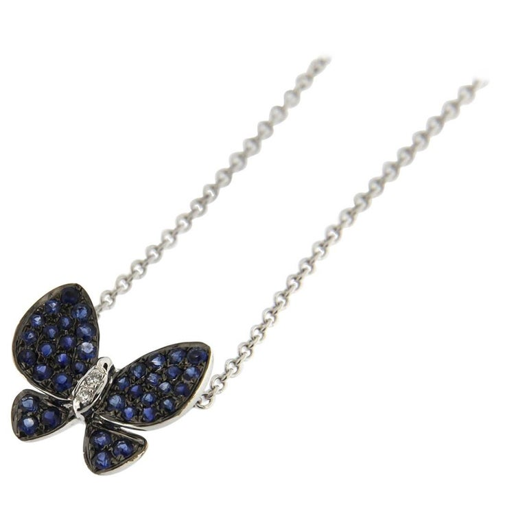 Jona Blue Sapphire White Diamond White Gold Butterfly Pendant Necklace