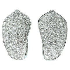 Cartier 10 TCW Pave Diamond White Gold Evening Earrings