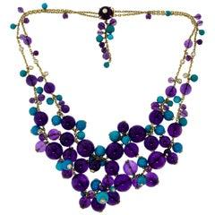 Cartier Delices de Goa Amethyst Turquoise Diamond Yellow Gold Bead Necklace