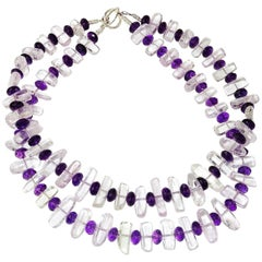Striking Double Strand Necklace of Transparent Kunzite Rods and Amethyst Rondels