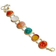 Venetian Glass Intaglio Cameo Bracelet