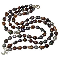Triple Strand of Multi Color Baroque Pearls Necklace with Sterling Silver Clasp