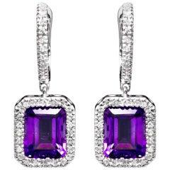 Amethyst Diamond Halo Dangle Earrings
