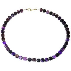 Opaque Amethyst Cubes with Silver Accents Necklace