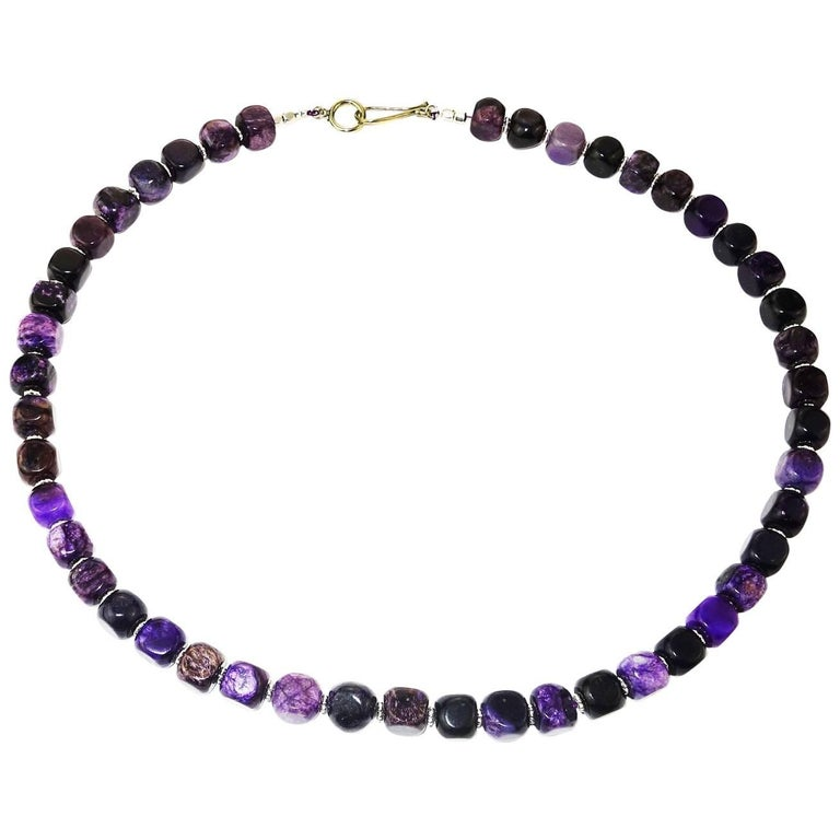 Opaque Amethyst Cubes with Silver Accents Necklace For Sale