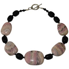 Argentine Rhodochrosite and Black Onyx Necklace with Sterling Silver Clasp