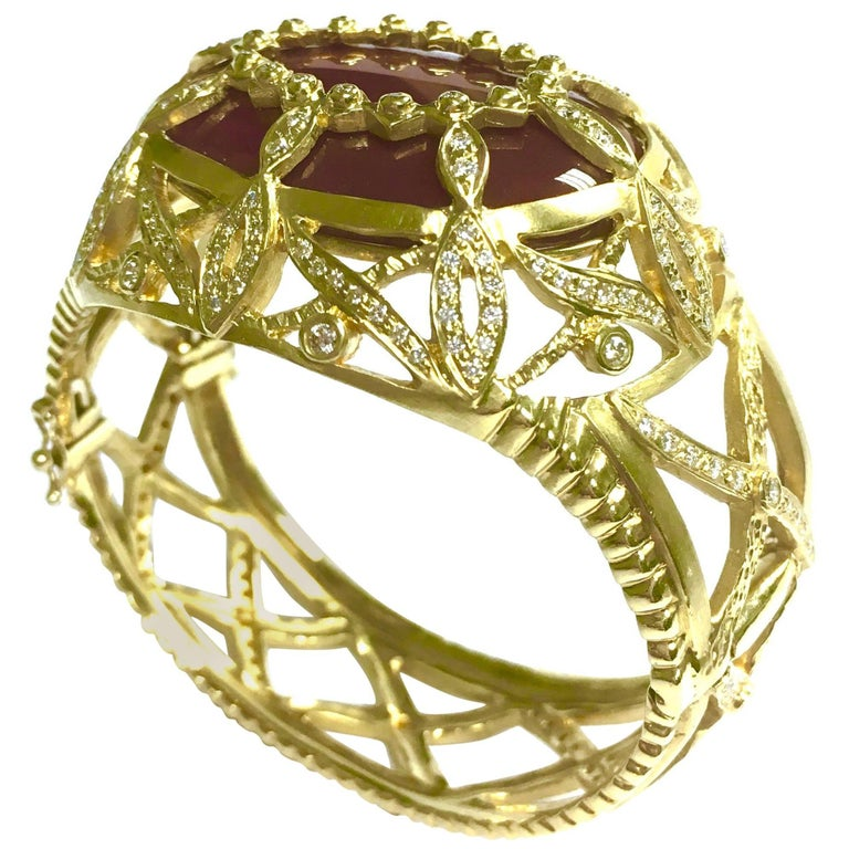 "Doris Panos ""Honey Drop Carnelian"" Yellow Gold Diamond Bangle Bracelet"