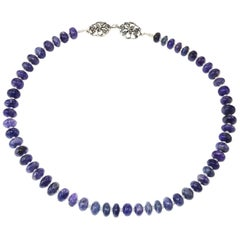 Gorgeous Translucent Tanzanite Rondel Necklace with Sterling Silver Clasp