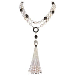 Wood Beads with Silver Inlay and Pearl Sautoir with Tassel by Marina J