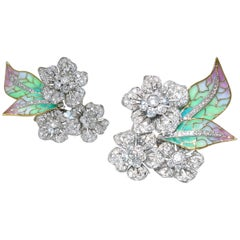Diamond Plique a jour  Enamel Earrings
