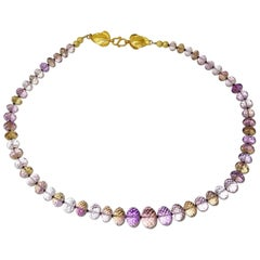 Graduated Rondels of Rose of France Amethyst Necklace with 18Kt Gold Clasp