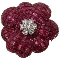 Sabbadini Ruby and Diamond Flower Brooch
