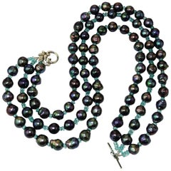 Triple Strand Blue/Green Pearls with Apatite Necklace