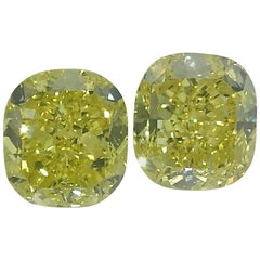 Matched Pair of Vivid Yellow Diamonds