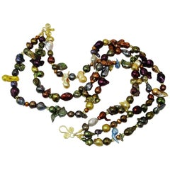 Triple Strand Multi-Color  Pearl Necklace