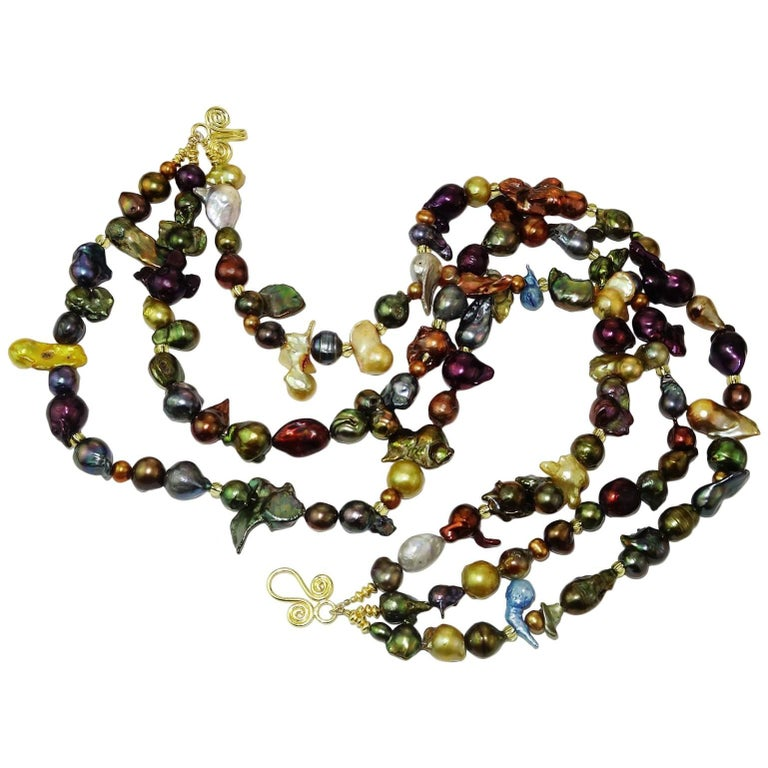 Triple Strand Multi-Color  Pearl Necklace For Sale