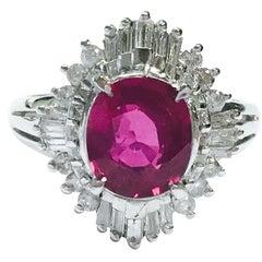 GIA 2.03 Carat No Heat Ruby and Diamond Ballerina Style Platinum Ring