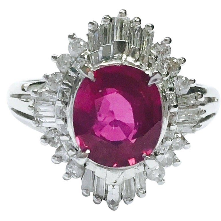 af4e6fd43760a GIA 2.03 Carat No Heat Ruby and Diamond Ballerina Style Platinum Ring