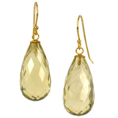 Lemon Quartz and Gold Drop Earrings