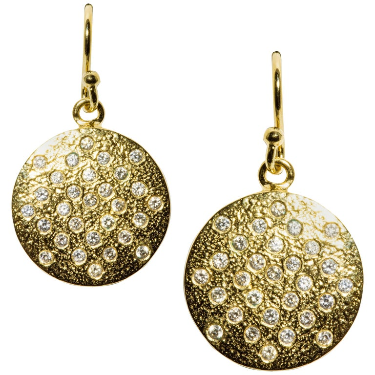 'Les Lumineuse'. Pair of Diamond Yellow Gold 'LOVE ON PLANET 58' Dangle Earrings