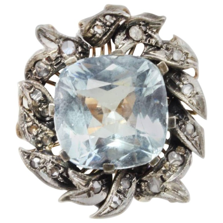 Aquamarine and Diamonds Fashion Gold  Ring