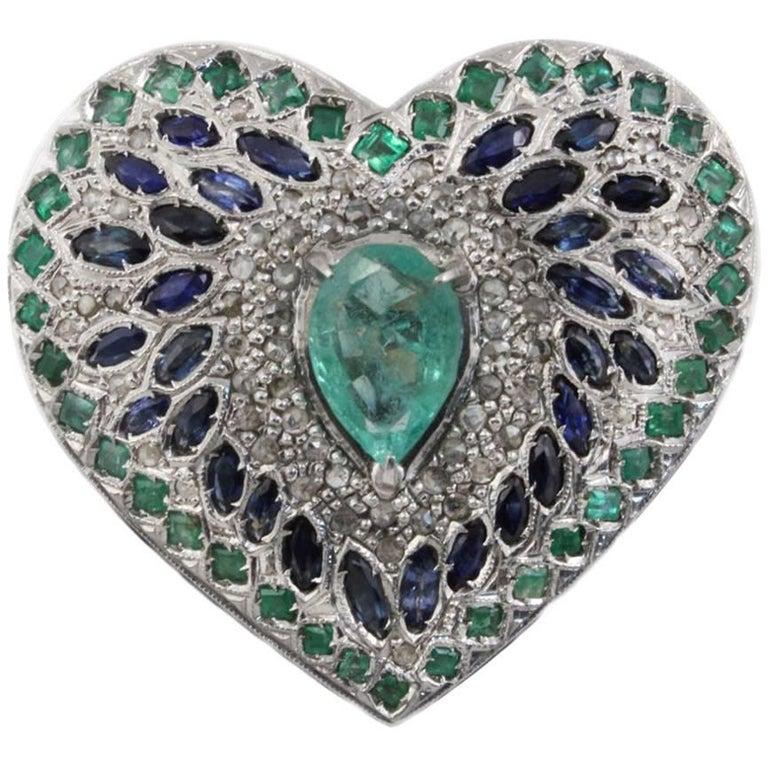 Luise Blue Sapphire, Emerald and Diamond Hart Ring