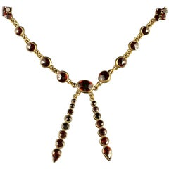 Antique Victorian Garnet Necklace circa 1880 Bohemian Garnets