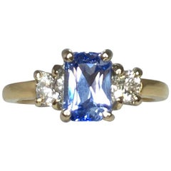 Ceylon 1.56ct Blue Sapphire Emerald Cut Diamond Three-Stone Ring