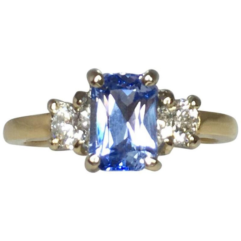 a89408f4463ded Ceylon 1.56ct Blue Sapphire Emerald Cut Diamond Three-Stone Ring For Sale